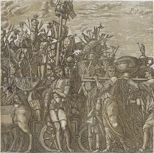 Die Trophäenträger (Blatt 3 in: Der Triumphzug Caesars), 1598/99
