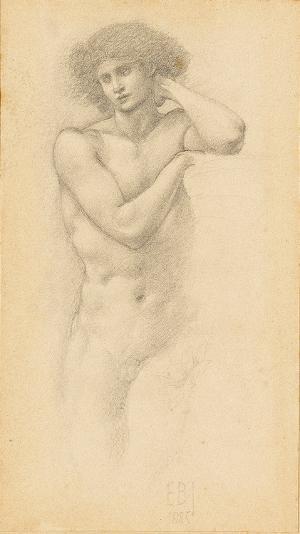 """Männliche Aktstudie für """"Hill Fairies"""", 1885"""
