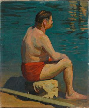 Badender am Wasser  (Albert Schweitzer?), um 1900
