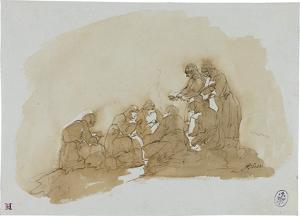 Sieben Frauen am nächtlichen Feuer sich wärmend, um 1820/30