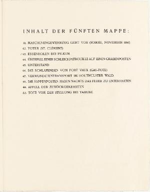Der Krieg, Inhaltsverzeichnis Mappe V, 1924