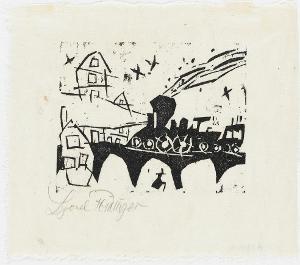 Zug auf der Brücke (Blatt 3 in: ZWÖLF HOLZSCHNITTE v. LYONEL FEININGER), 1918 (1921)