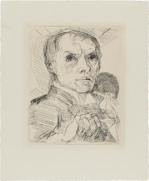 Selbstbildnis mit Griffel (Blatt 19 aus: Gesichter), 1916/17