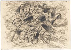 Gilgamesch, Blatt 26: Schon packte er Enkidu mit kralligen Tatzen. Da erhebt der König die Streitaxt. Getroffen sinkt Chumbaba zu Boden, 1943