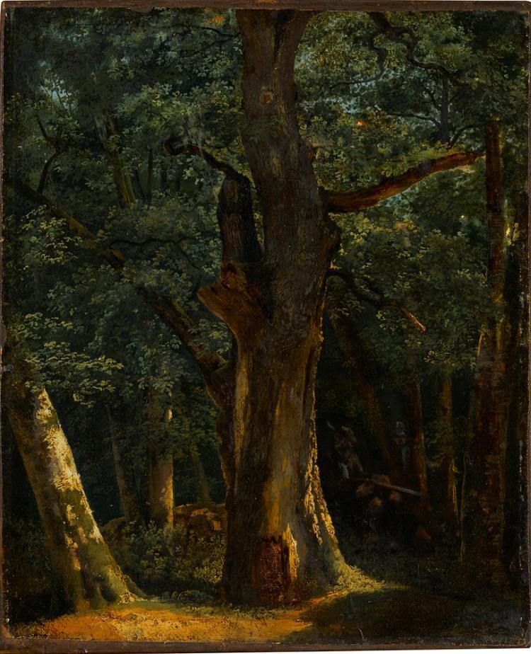 Waldinneres mit Jäger