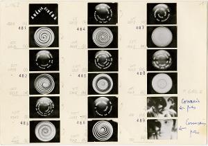 """Umschlag mit Brief (25.6.1961) und 3 Blättern mit 45 Kleinbild-Filmstills aus """"Anémic Cinema"""", 25.6.1961"""