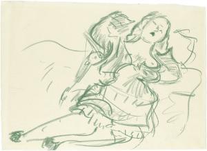 Liegende Frau mit Kaninchen (Studie zur »Frau in Blau«), 1919