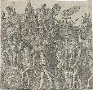 Die Triumphwagen (Blatt 2 in: Der Triumphzug Caesars), 1598/99