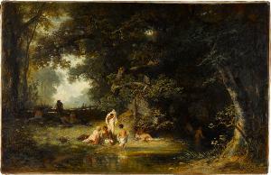 Waldlandschaft mit badenden Kindern, 1867
