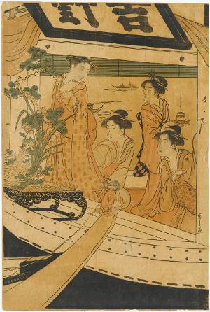 Fahrt auf dem Ausflugsschiff Yoshinomaru, um 1790