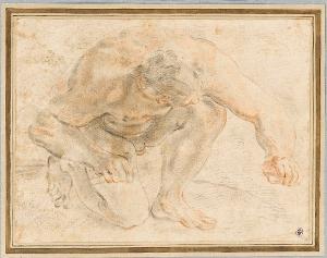 Nackter Mann, der sich auf ein Knie niedergelassen hat, um 1660/70