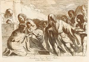 Die Anbetung der Heiligen drei Könige (Taf. 18 in: Raccolta di alcuni disegni del Barberi da Cento detto il Guercino), 1764 (um 1780)