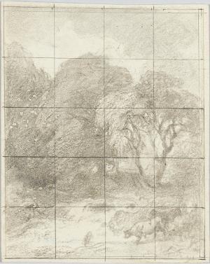 Landschaft mit großen Bäumen, Fluss und Herde; Verso: Bleistiftskizze, nicht datiert