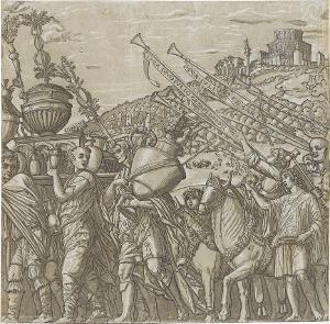 Die Vasenträger (Blatt 4 in: Der Triumphzug Caesars), 1598/99