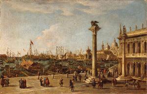 Vedute mit der Piazzetta und Blick auf die Dogana und S.Maria della Salute, 18. Jh.