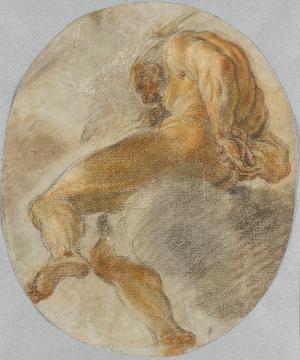 Nackte männliche Figur auf Wolke sitzend, um 1660/70