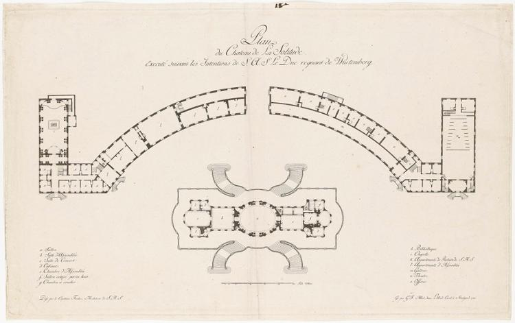 Grundriss von Schloss Solitude (Plan du Chateau de La Solitude)