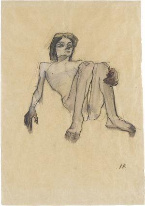 Liegender Akt mit angezogenen Knien (Savoyardenknabe), 1912