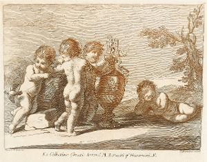 Vier Putti und Vase in Landschaft (Taf. 17 in: Raccolta di alcuni disegni del Barberi da Cento detto il Guercino), 1764 (um 1780)