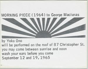 Morning Piece (1964) to George Maciunas, 1965