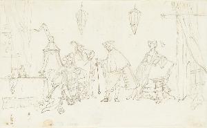Interieur mit vier Figuren, um 1710/20