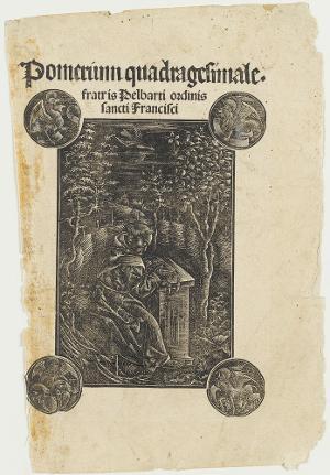 Der Franziskaner Pelbartus im Garten  (Pomerium quadragesimale fratris Pelbarti), um 1500