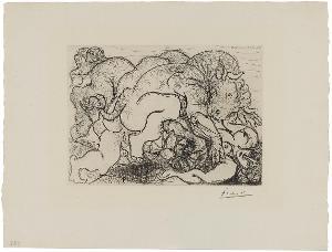 Minotaure amoureux d'une femme-centaure (Minotaurus verliebt in eine Zentaurin) (aus: Suite Vollard), 23.5.1933