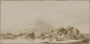 Landschaft mit Ätna (Vuë de l' Etna prise d' un Jardin du Prince du Biscarie creusée dans les Laves de 1669 près de Catane), vor 1781