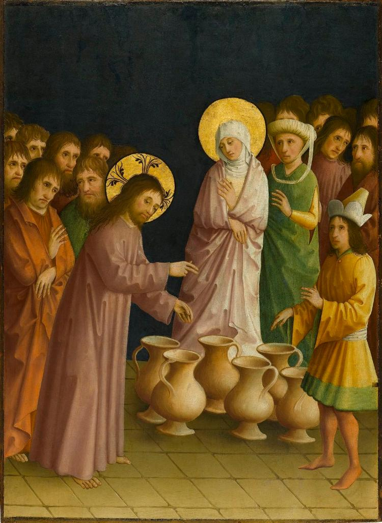 Christus verwandelt auf der Hochzeit zu Kana Wasser in Wein