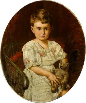 Kinderbildnis, Mädchen, sitzend, in weißem Kleid mit Teddybär in Händen (Tochter der Stifterin), nicht datiert