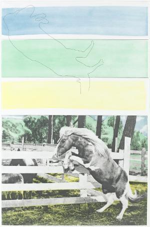Drei Farben (mit aufsteigendem Pferd) (Blatt 5 in: Hegels Keller), 1986