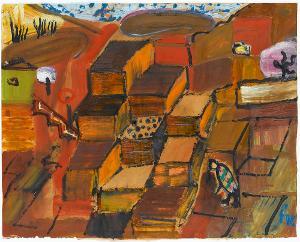Geschachtelter Weinberg auf Rot; Verso: Geometrische Muster, 1952