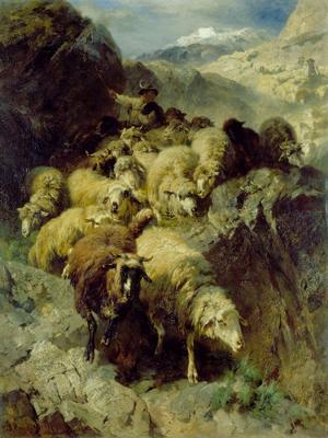 Rückkehr der großen Schafherde von der Alp, 1880
