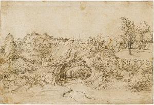 Landschaft mit Felsentor; Verso: Esel mit Sattel, um 1530/40