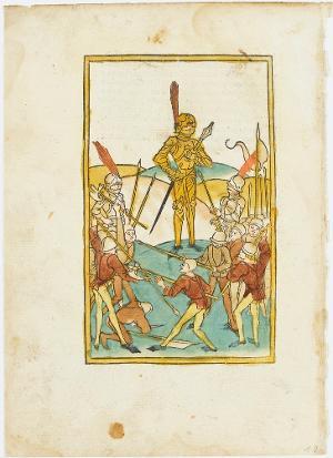 Die Schlacht zwischen den Staufern und den Habsburgern (aus Lirer, Schwäbische Chronik, Ulm), 12.1.1486