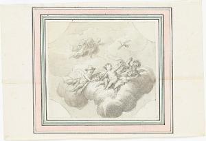 Drei geflügelte Putti auf Wolken mit Vogelnest, schwebendem Vogel sowie zwei geflügelte Putti mit Vogelkäfig, um1760/65
