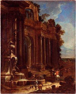 Palastruinen und Jagdgesellschaft, um 1700