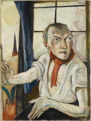 Selbstbildnis mit rotem Schal, 1917