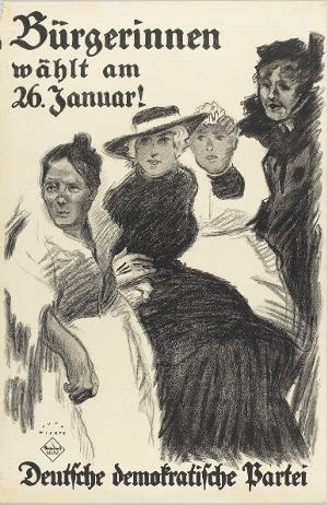 Bürgerinnen wählt am 26. Januar! Deutsche demokratische Partei, 1919