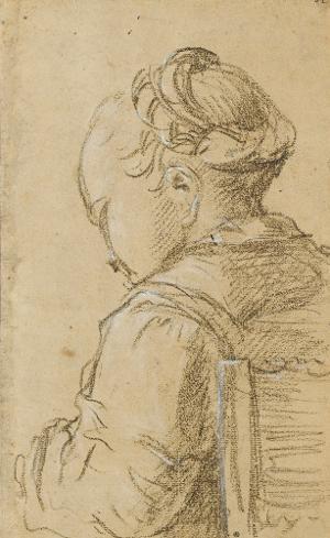 Sitzendes Bauernmädchen von hinten gesehen; Verso: Bekehrung Pauli, nicht datiert
