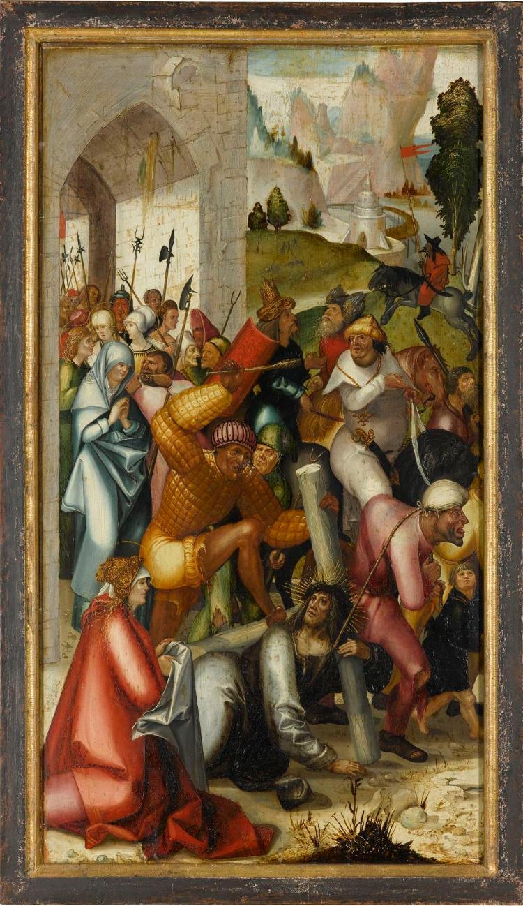 Die Kreuztragung Christi (Innenseite), Engel der Verkündigung (Aussenseite)
