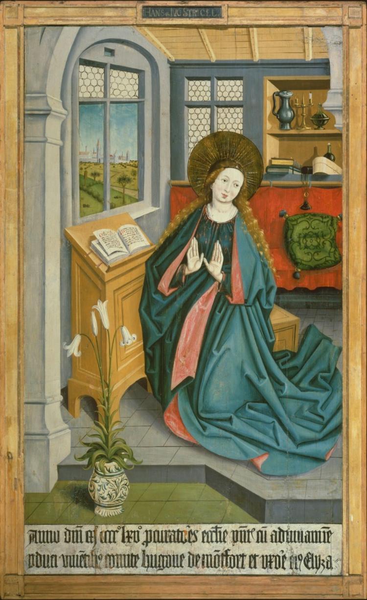 Montfort-Werdenberg-Altar: Maria der Verkündigung (Aussenseite), die Heiligen Antonius, Agnes, Georg (Innenseite)
