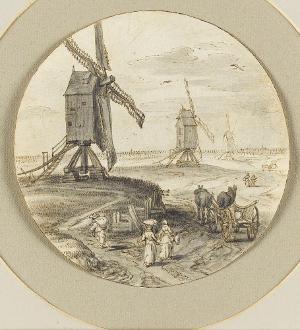 Landschaft mit Windmühlen und Fuhrwerk, um 1640