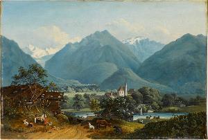 Berglandschaft mit Dorf, nicht datiert