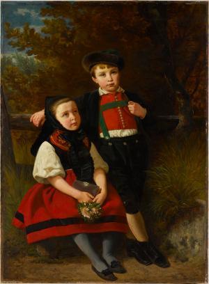 Die Kinder des Künstlers in schwäbischer Tracht, 1855