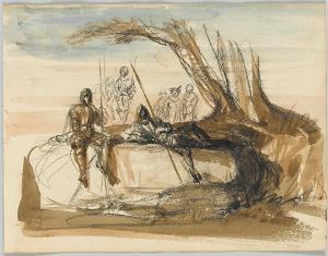 Rastende Soldaten unter einem Baum; Verso: Skizze einer liegenden männlichen Figur, 1846