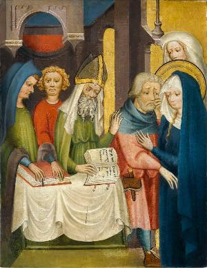 Sogenannter Ulmer Hochaltar: Die Zurückweisung von Joachims Opfer, um 1400