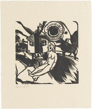 Weiblicher Akt vor Bauernhof (Blatt 3 in: Bauhaus-Drucke. 3te Mappe), 1921