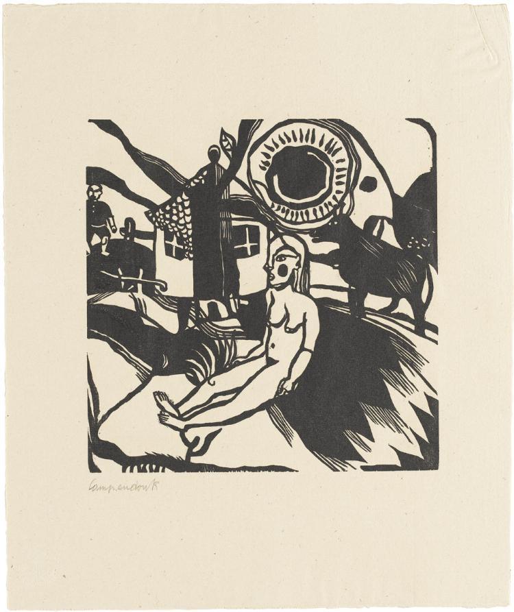 Weiblicher Akt vor Bauernhof (Blatt 3 in: Bauhaus-Drucke. 3te Mappe)