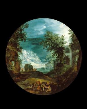 Bukolische Landschaft mit antiken Ruinen, um 1600